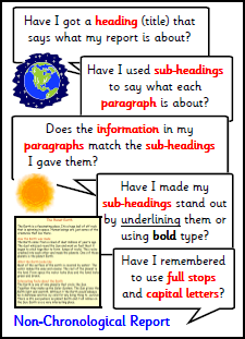features of a report ks1